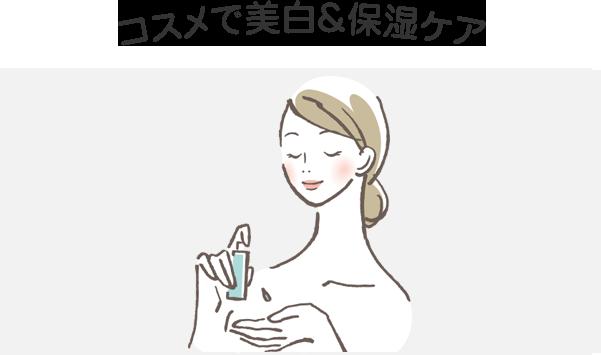 また、メラニン色素を除く必要がありますので、その解消法としては、コスメで美白&保湿ケア